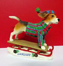 Danbury Mint January Calendar Perpetual New Years Beagle Dog Figurine