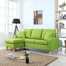 Modern Fabric Small Space Sectional Sofa w/ Reversible Chaise in Green