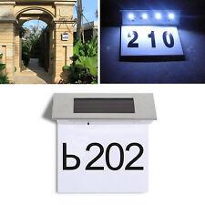 Solar Powered 4 LED House Address Number Stainless Steel Doorplate Light Lamp