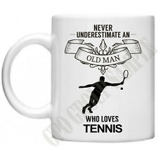 Never Underestimate...Tennis Novelty Gifts Dad Grandad Funny Wimbledon Tea Mug