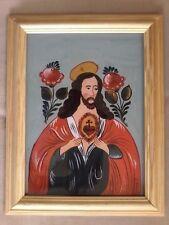VINTAGE OOAK SANDL SACRED HEART OF JESUS PRIESTS CHAMBER REVERSE GLASS PAINTING