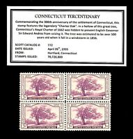 1935 - CONNECTICUT - #772 Mint -MNH- Vintage Block of Four Postage Stamps
