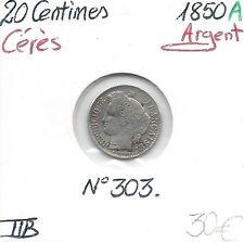 20 CENTIMES Cérès - 1850 A - Pièce de Monnaie en Argent // Qualité: TTB