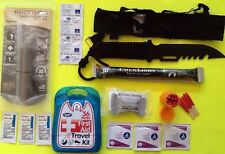 Fire & First Aid Survival Knife Kit Emergency Prepper Bug Out Bag Hunting Water