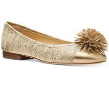 NIB Size 6 Michael Kors Lolita Embossed Leather Pale Gold Pom Pom Ballet Flat