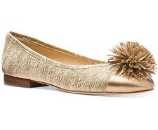 NIB Size 7 Michael Kors Lolita Embossed Leather Pale Gold Pom Pom Ballet Flat