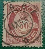 NORWAY:1893 -1898 Posthorn 50øre  Rare & Collectible Stamp.