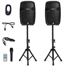 PA Speaker System Portable Bluetooth DJ Party 2 Tripod Stands Microphone