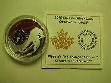 2015 Proof $10 NHL-Ottawa Senators Canada .9999 silver COIN&COA ONLY ten dollars