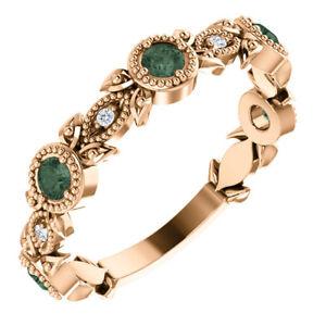 Genuine Alexandrite & .03 CTW Diamond Leaf Ring In 14K Rose Gold