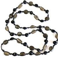 "Vintage Czechoslovakian Glass Mardi Gras Bead Long Necklace 36"" Black & Gray"