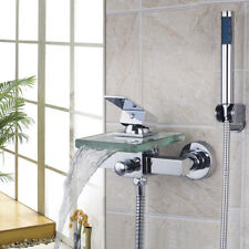 Bath&Shower Faucet Wall Mount Waterfall Glass Spout with Handheld Mixer Spary