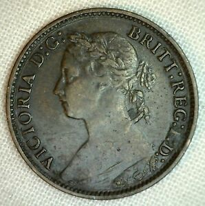 1882 H Bronze Farthing Great Britain UK Coin Extra Fine
