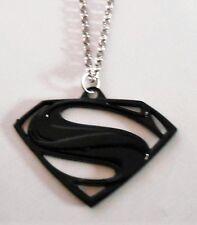 "SUPERMAN Superhero BLACK CUTOUT 2"" LOGO PENDANT W/22"" BALL CHAIN"