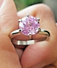 1.65ct Natural Pink Sapphire Solitaire 14K Solid White Gold Ring Engagement