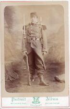 MILITARIA 1870 / SUPERBE PHOTO ALBUMINEE militaire au sabre 16,5 x11 Soissons