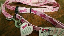 LG. ADJUSTABLE  DOG COLLAR & LEAD SET, PINK NYLON FIGHT BREAST CANCER LOGOS