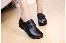 Size 6 Women's ladies comfort leather flat black nursing casual school shoes