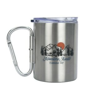 Ozark Trail 17oz Stainless Steel Mug w Lid and Carabiner Handle Adventure Design