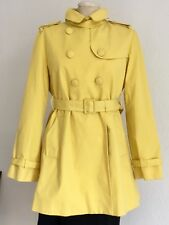 💝JIGSAW Sunny Yellow Cotton Trench Coat Mac Knee Length Lined EUC Size M 12