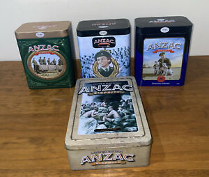 """4 ANZAC BISCUIT TINS Limit Edition Includes """"The Victoria Cross"""" """"100 Years"""""""