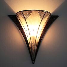 Oriental Applique Murale Lampe en Cuir Henné avec Véritable Karima Du Maroc