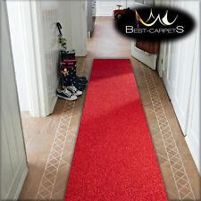 CHEAP RUNNER HALLWAY MODERN red CORRIDOR width 50-100cm RUGS Feltback Carpets