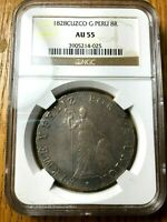 1828 Peru G 8 reales cusco cuzco republican silver NGC AU 55 CUZ pcgs NOT LIMA