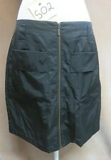Apostrophe Woman's Very Black Skirt Size 14 Zip Front Cotton/Nylon EUC #R19H