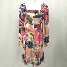Gianni Versace Dress Size UK 10 IT 42 Multi Pattern 100% Silk Psychedelic 263307