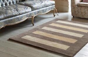 Brown Beige Quality Modern Handmade Antique Wash 100% Wool Area Rugs Runner