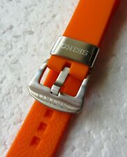 22mm Seiko Soft Silicon Orange Rubber Divers Strap Z-22 Z22 Brushed Buckle