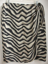 RALPH LAUREN WOMENS WRAP SKIRT size 12 BLACK BEIGE STRIPES PRINT 100% SILK