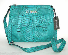 NEW GUESS BY MARCIANO FABRIZIA TEAL GREEN PYTHON LEATHERETTE CROSSBODY HAND BAG