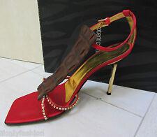 VINTAGE ROBERTO CAVALLI EXOTIC Satin Rhinestone Slingback Dress Sandal Shoes 39