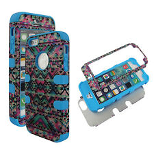 Hybrid Bue Pink Tribal 3 in 1 Apple Iphone 5S  Cover Case Hard & Soft Outer