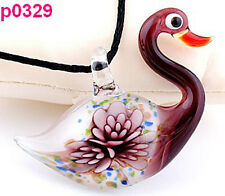 Lifelike Swan Flower art lampwork glass pendant p0329