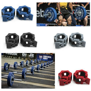 """Olympic 2"""" Spinlock Collars Barbell Dumbbell Clips Clamp Weight Bar Locks Pair"""