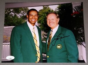 Jack Nicklaus autographed 8x10 signed Masters photo with Tiger Woods JSA COA