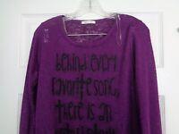 Tea n Rose Women's Purple Long Sleeve Knit Top Size Small