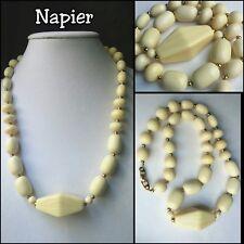 """Vintage Napier Gold tone Faux Ivory - Lucite Bead 24"""" NECKLACE"""