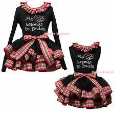 My Heart Belongs To Daddy Top Red Green Check Black Satin Trim Skirt Girl NB-8Y