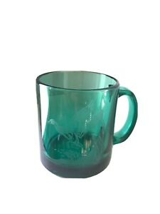 Vintage Engraved Duck Clear Emerald Green Glass Mug Made in USA Very Nice