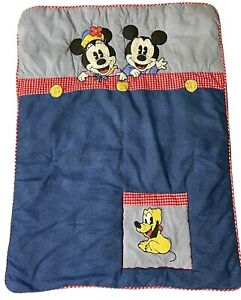 VINTAGE 1996 Disney Baby Mickey Minnie Mouse crib comforter blanket blue quilt