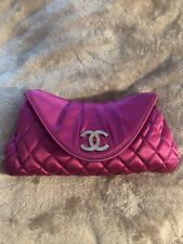 Chanel Fuchsia Quilted Satin Clutch