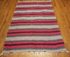 """Vintage Dhurrie Duree Rug  Stripe Pink Lavender Gray Black White 73"""" x 46"""""""