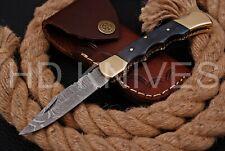 HD knife Handmade Damascus steel Hunting Folding knife brass bolster handle 162