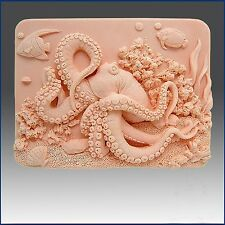Octopus on Coral Reef - Soap/candle/polymer/clay/cold Porcelain 2d Silicone Mold