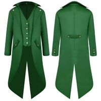 Men's Retro style Trench Coat Gothic Medieval Jacket Steampunk Outwear Tailcoat