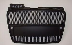 Audi A4 B7 2005-2008 Matte Black Grille RS Look w/ Sensor Hole Honeycomb